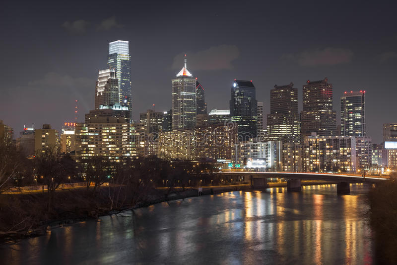 Philadelphia Skyline at Night. Skyline of center city Philadelphia at night with Schuylkill River in foreground stock photos