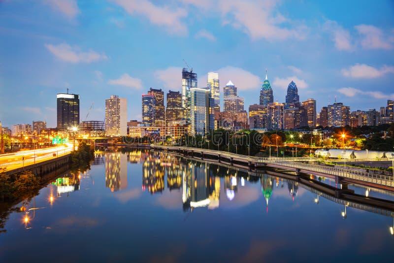 Philadelphia skyline at night. Philadelphia cityscape at sunrise with the Delaware river royalty free stock photos