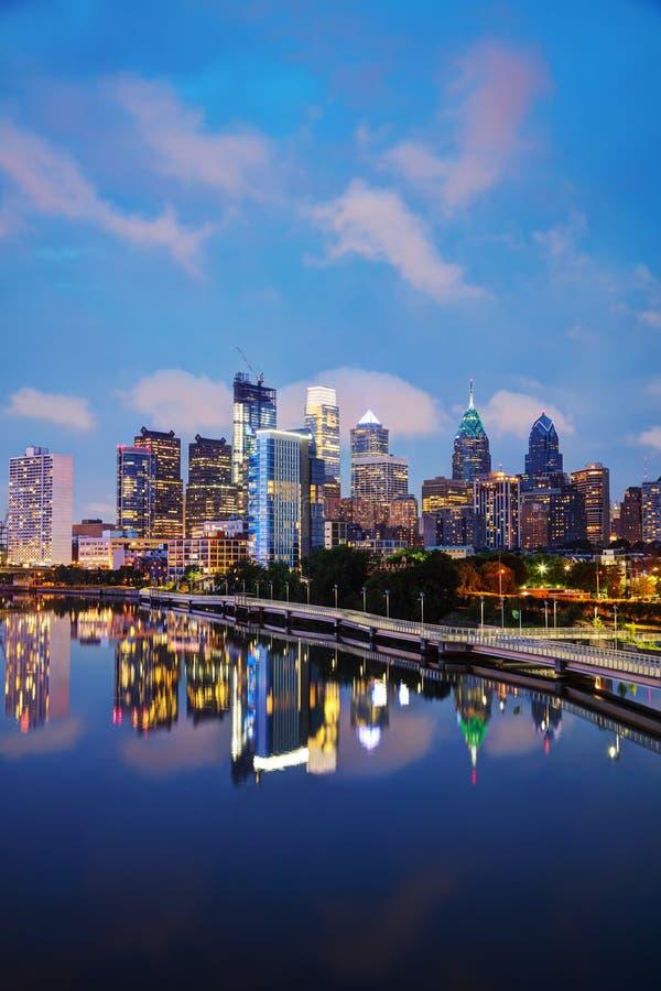 Philadelphia skyline at night. Philadelphia cityscape at sunrise with the Delaware river stock images