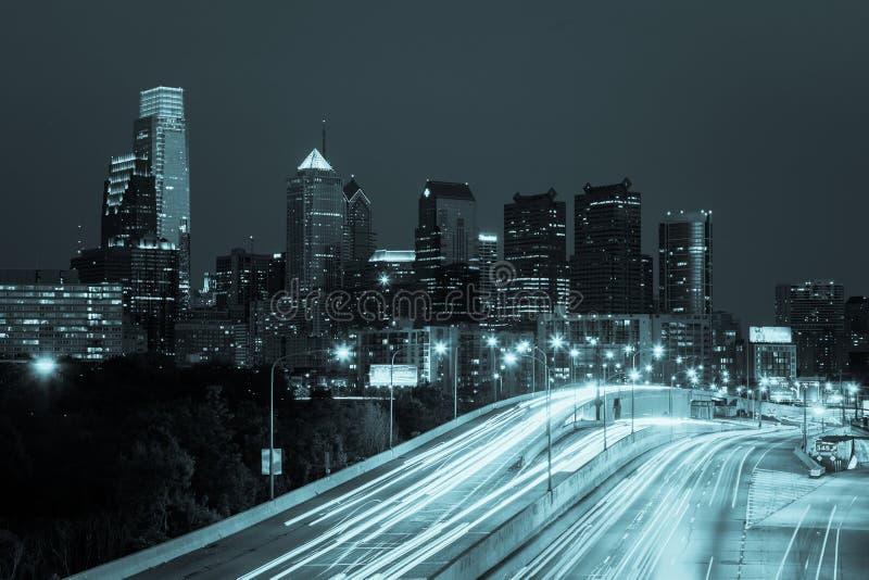 Philadelphia skyline by night - Pennsylvania - USA royalty free stock photo