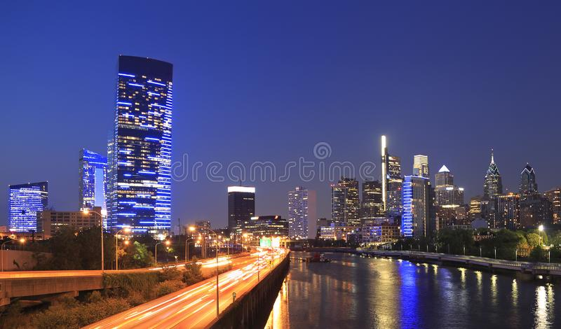 Philadelphia skyline at night with the Schuylkill River on the foreground. USA royalty free stock photo