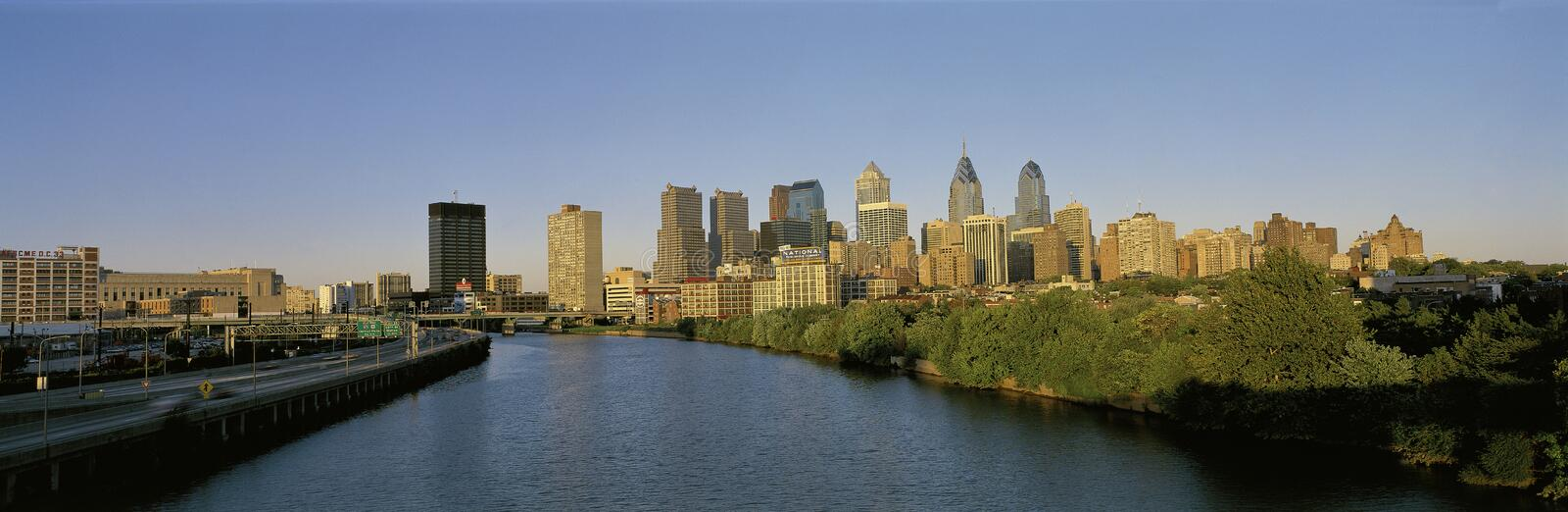 Philadelphia skyline with Schuylkill River. This is the Philadelphia skyline from the Schuylkill River at sunset stock photo