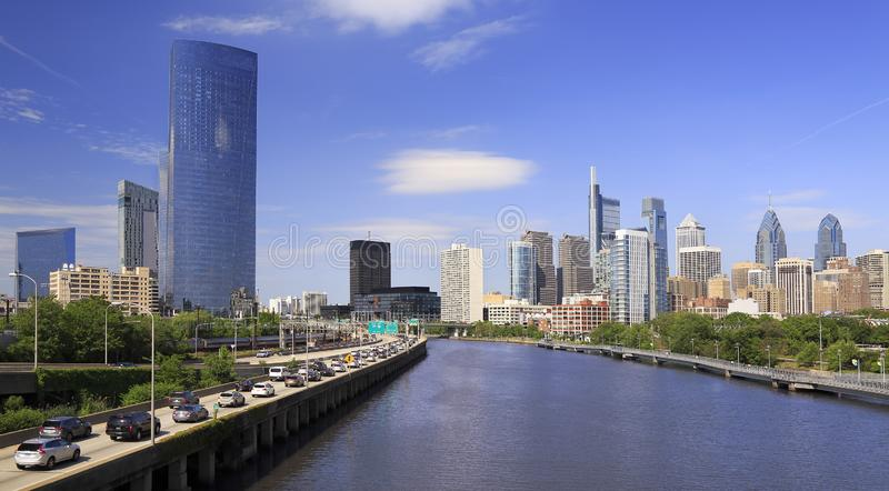 Philadelphia skyline with the Schuylkill River and highway on the foreground, USA stock photos
