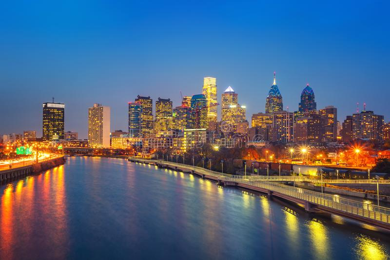 Philadelphia skyline and Schuylkill river at night, USA. stock images