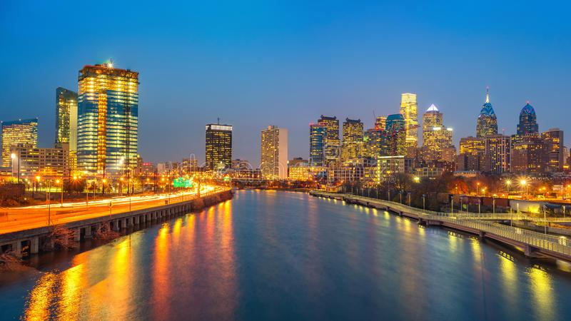 Philadelphia skyline and Schuylkill river at night, USA. stock photos