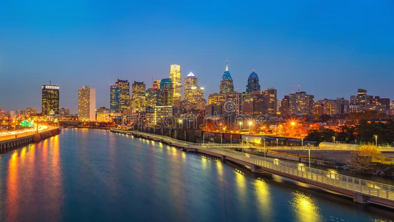 Philadelphia skyline and Schuylkill river at night, USA. Panoramic picture of Philadelphia skyline and Schuylkill river at night, PA, USA royalty free stock images