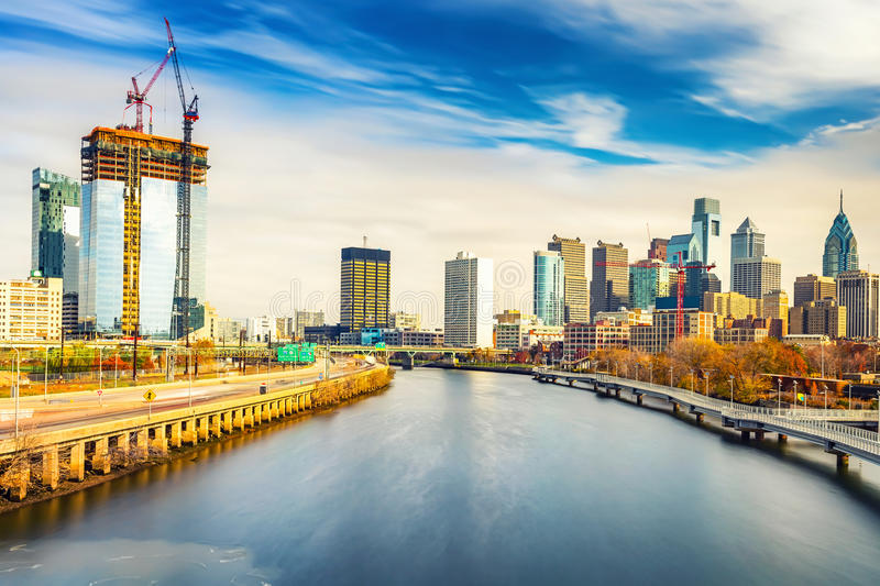 Philadelphia skyline and Schuylkill river, USA. stock photos