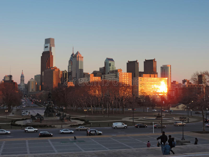 Philadelphia Skyline at Sunset. The iconic view from the Museum of Art of the Philadelphia, Pennsylvania skyline at sunset royalty free stock photography
