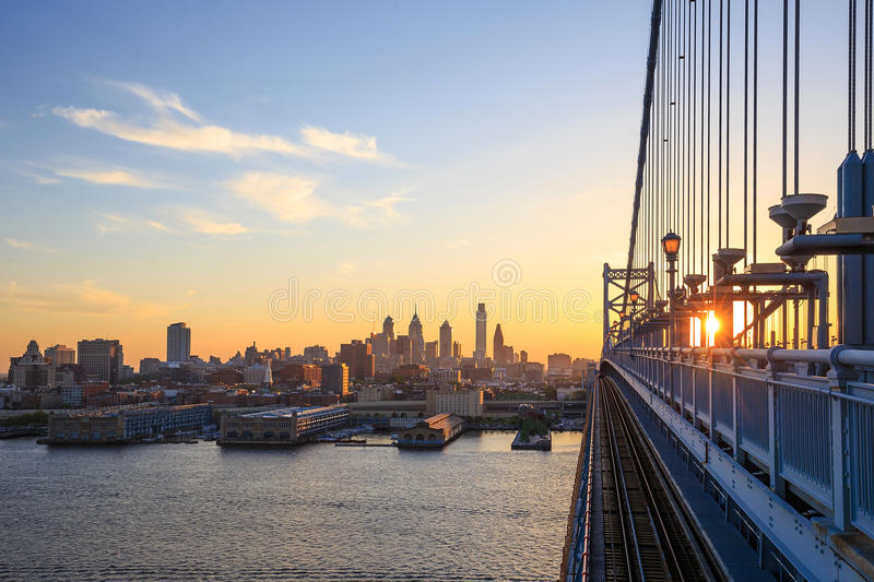 Philadelphia skyline at sunset stock image
