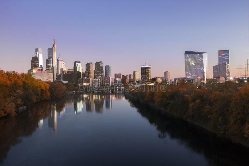 Philadelphia Skyline at Twilight During the Autumn. A time exposure of Philadelphia`s pristine skyline at twilight during a vibrant autumn stock images