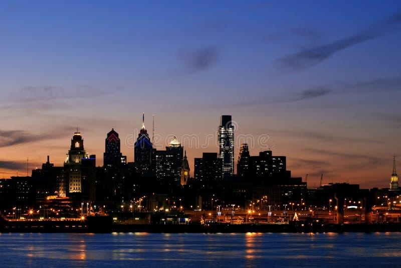 Philadelphia Skyline at Twilight, Wide View stock photo