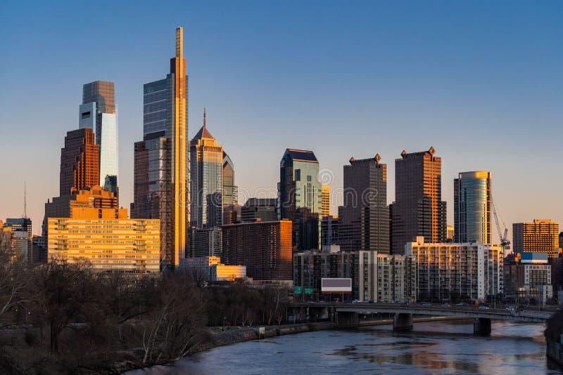 Philadelphia Skylines building. Sunset stock image