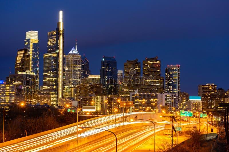 Philadelphia Skylines. Building sunset in Philly city PA USA stock photo