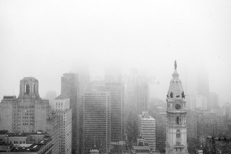 Philadelphia-Skylineschnee stockbilder