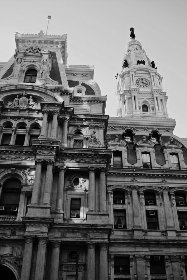 Philadelphia stadshus i svartvitt arkivbilder