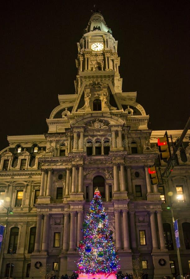 Philadelphia stadshus vid natt, Pennsylvania USA royaltyfria bilder