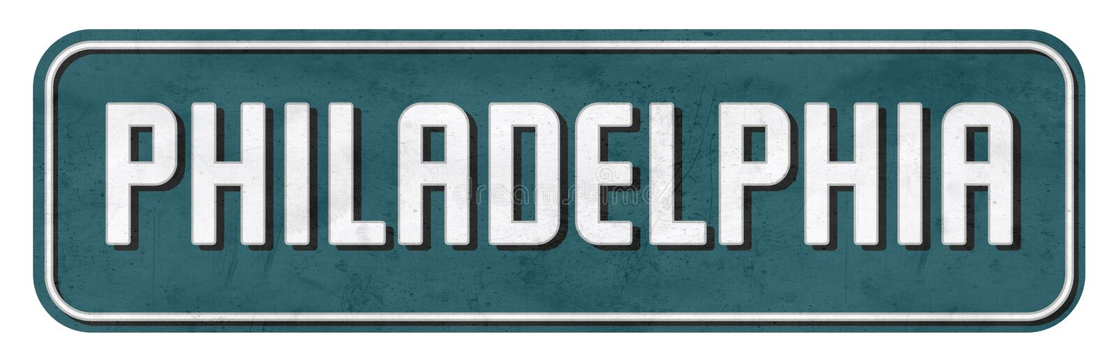 Philadelphia Street Sign in Eagles Colors NFL. Grunge teal silver white retro vintage PA royalty free stock images