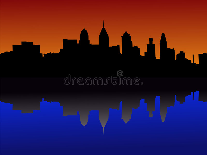 Download Philadelphia at sunset stock vector. Image of reflection - 2292194