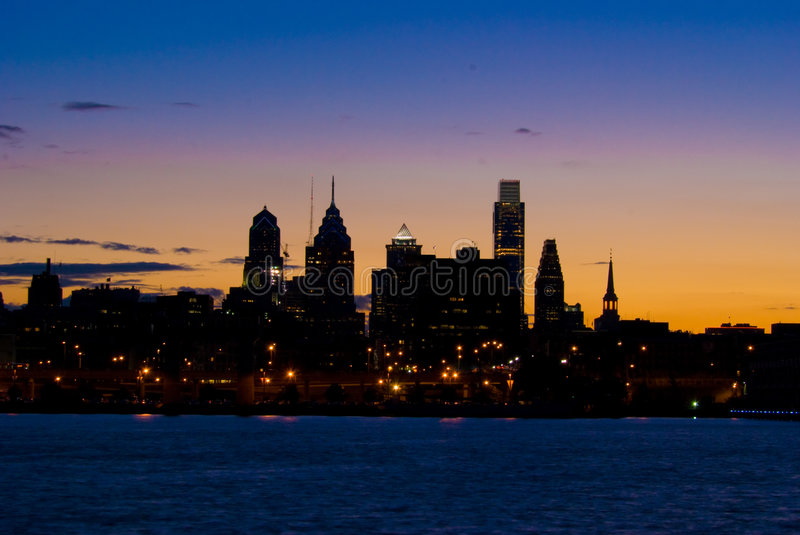Philadelphia at Sunset stock photography