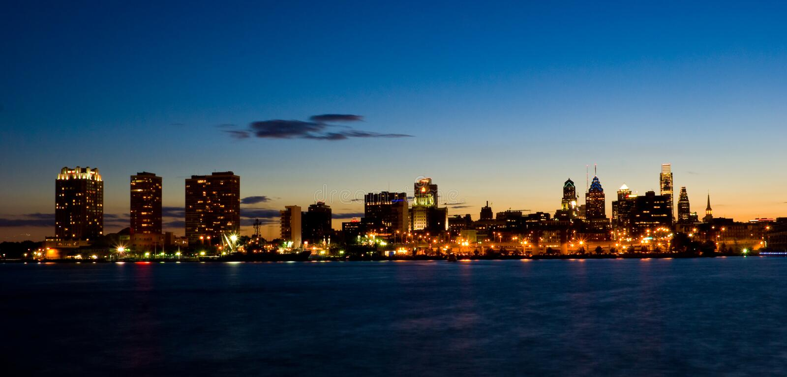 Philadelphia Sunset. A Sunset View of Philadelphia, Pennsylvania waterfront from the Delaware River (panoramic royalty free stock photography