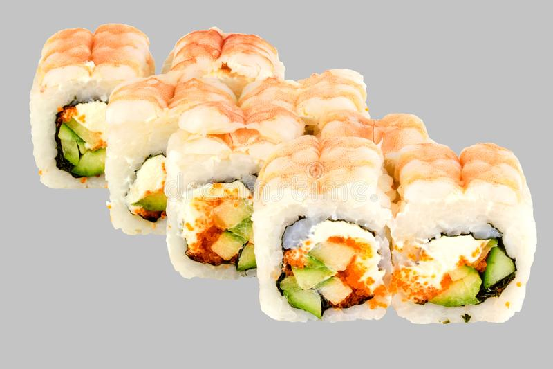 Philadelphia Sushi Roll Shrimp Cucumber Masago Caviar with Philadelphia royalty free stock images