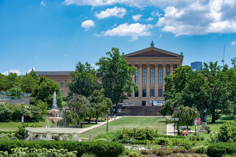 PHILADELPHIA USA - JUNE19, 2016 - turist på det steniga museet av konstflyget av moment royaltyfri bild