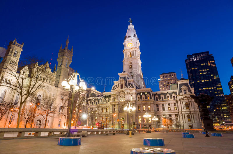 Philadelphias Markstein historisches Rathaus-Gebäude lizenzfreie stockfotos