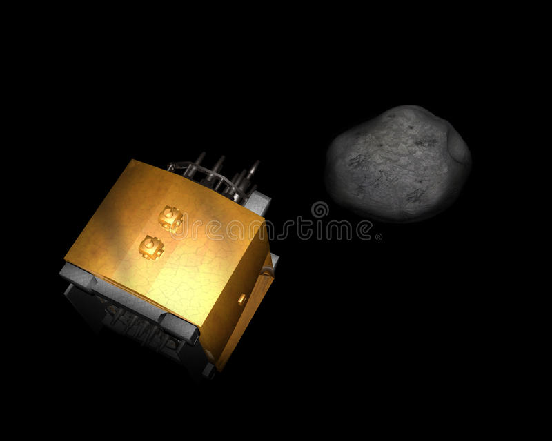 Philae Comet Lander Illustration Concept. Illustration concept of the Philae spacecraft lander landing on a comet in deep outer space stock photo