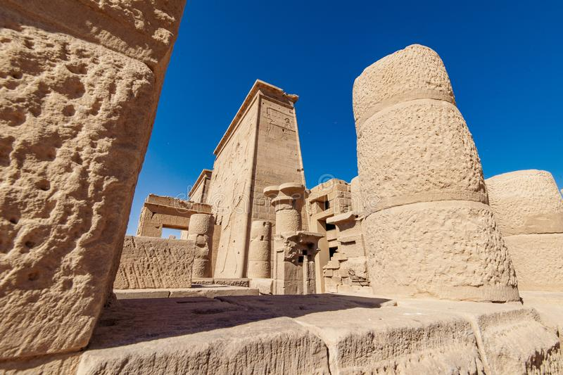 Philae Temple detail background tourist attraction in Egypt near Aswan city stock image