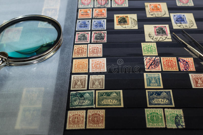 Philately album with postage stamps royalty free stock photo