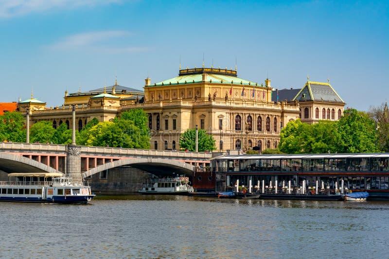Philharmonia building and Vltava river, Prague, Czech Republic royalty free stock photos