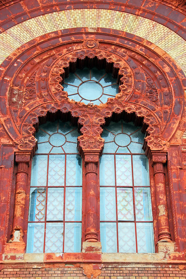 Philharmonic building in Uzhgorod, Ukraine. Fragment of Transcarpathian Regional Philharmonic building (former Synagogue) in Uzhgorod, Ukraine stock photography