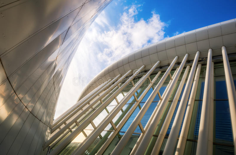 Philharmonie on the Kirchberg Plateau in Luxembourg City. Luxembourg City, Luxembourg - November 04, 2015: Philharmonie Luxembourg on Kirchberg plateau, opened royalty free stock photography