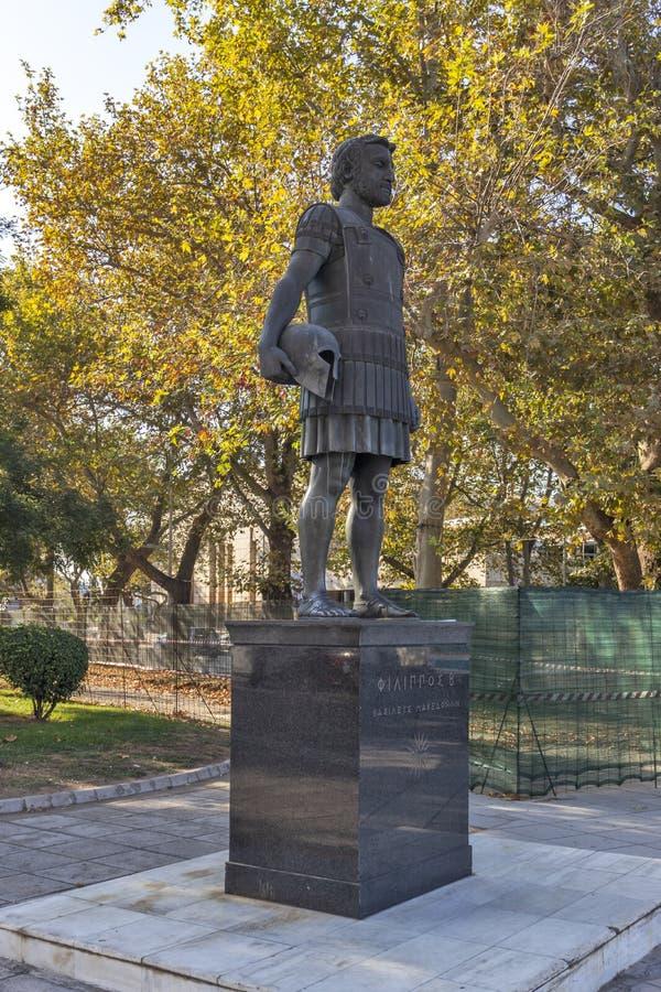 Philip II Macedon Monument in Thessaloniki, Greece. THESSALONIKI, GREECE - SEPTEMBER 22, 2019: Philip II Macedon Monument at embankment of city of Thessaloniki stock photo
