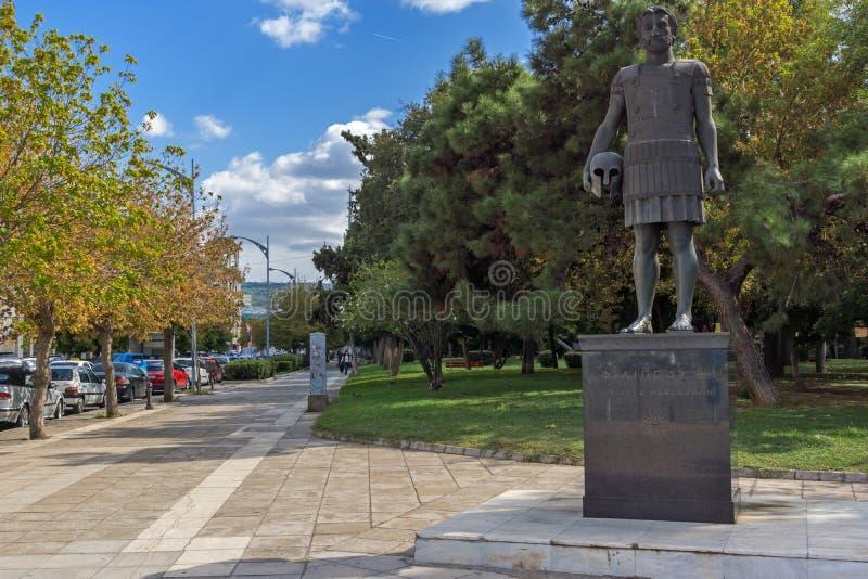 Philip II Macedon zabytek przy bulwarem miasto Saloniki, Środkowy Macedonia, zdjęcie royalty free
