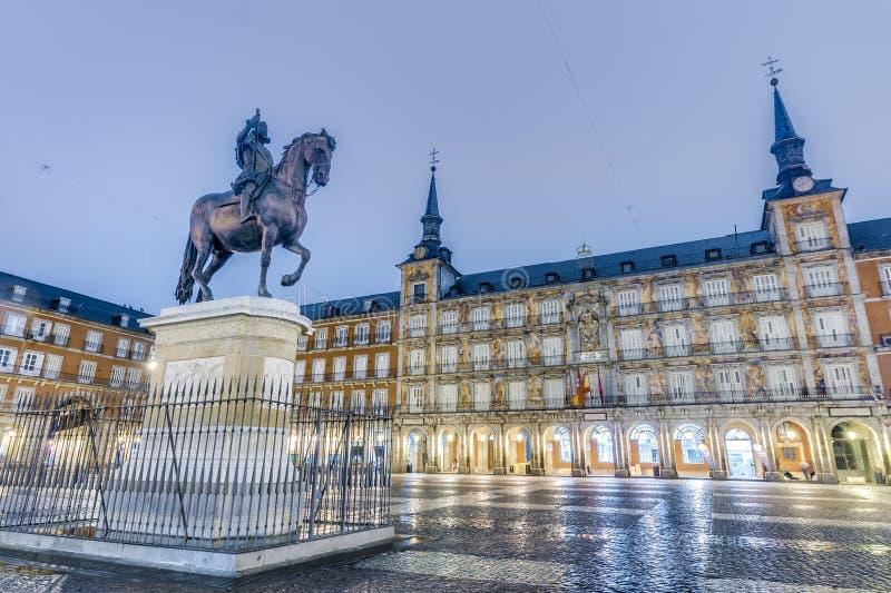 Philip III na placu Mayor w Madryt, Hiszpania. zdjęcia stock