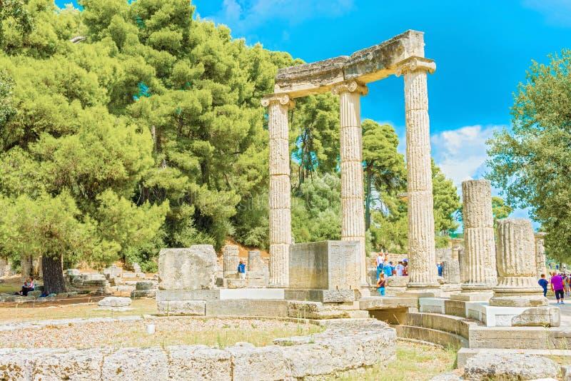 Philipp的寺庙废墟在奥林匹亚,希腊的 库存照片