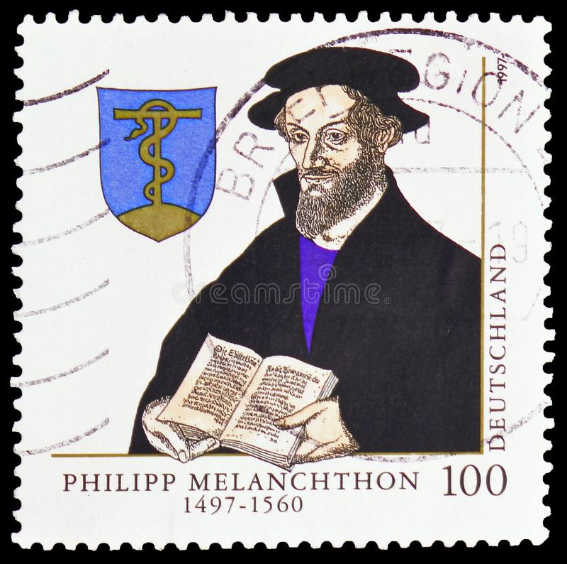 Philipp Melanchthon 1497-1560, 500ste Geboorteverjaardag van Phillipp Melanchthon serie, circa 1997 royalty-vrije stock afbeelding
