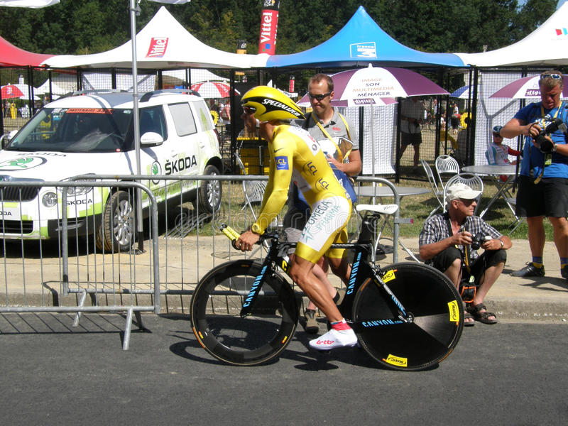 Philippe Gilbert. Stage one Yellow Jersey winner of the Tour de France 2011 Philippe Gilbert of team omega pharma. 03 July 2011 Les Essarts, Vendée, France stock images