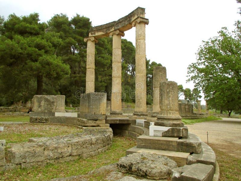 Philippeion古希腊圣所由马其顿的腓力二世,奥林匹亚架设了,希腊考古学站点国王  免版税库存图片