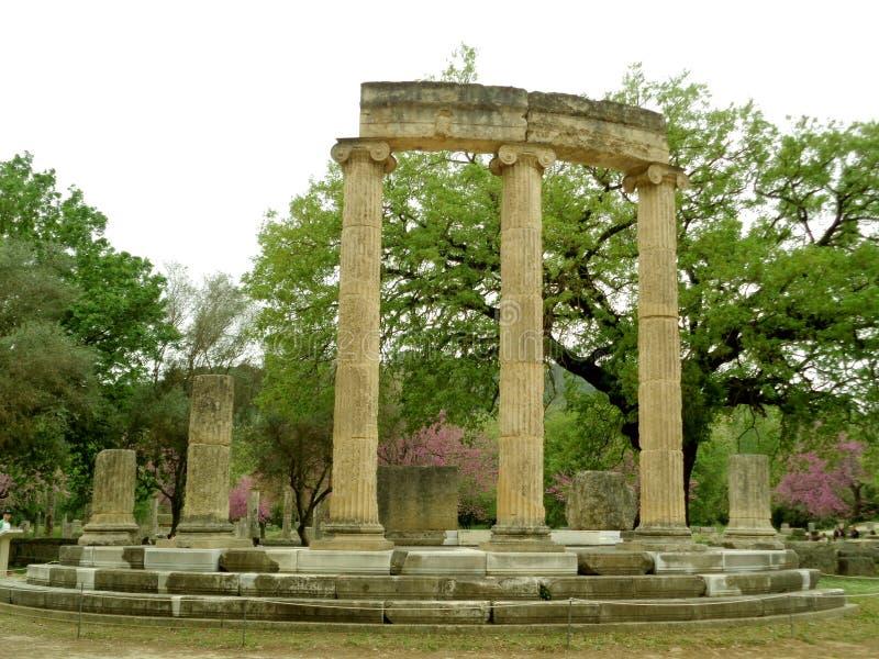 Philippeion,圆的形状的古希腊圣所在奥林匹亚,希腊考古学站点  免版税库存图片
