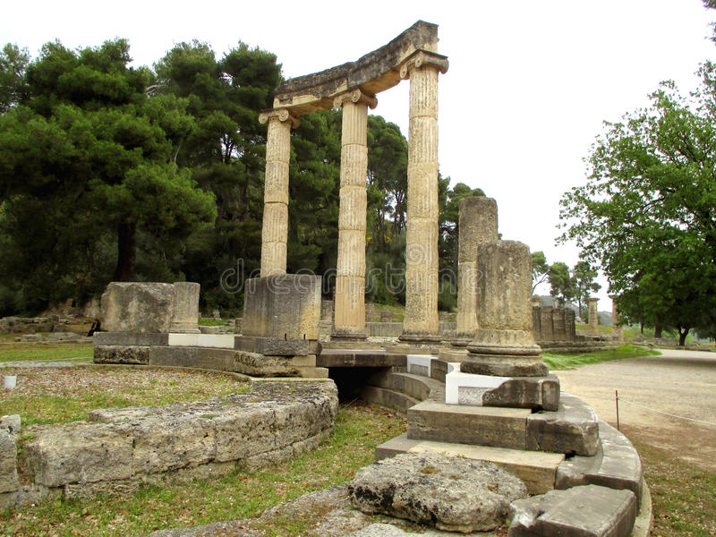The Philippeion, ancient Greek sanctuary erected by Philip II, King of Macedonia, Olympia Archaeological Site, Greece royalty free stock photo