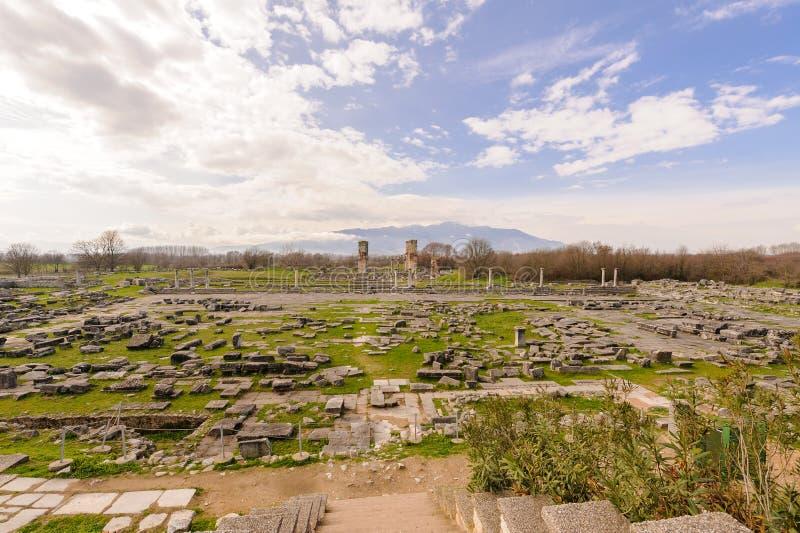 Philippi Romański forum i grek agora obraz stock