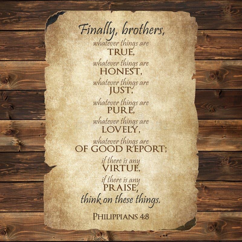 Philippians 4:8 biblii werset obrazy stock