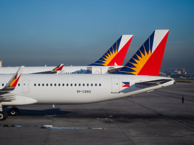 Philippine Airlines airplanes in Manila royalty free stock photos