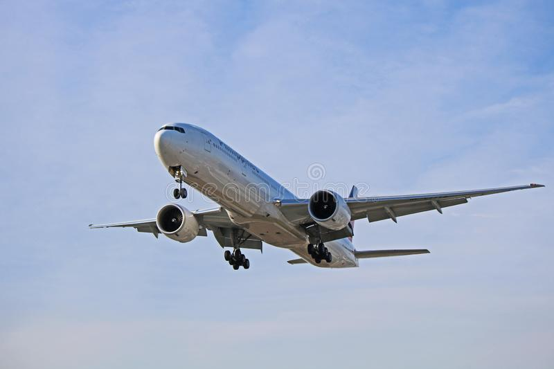 A Philippine Airlines Boeing 777-300ER Approaches Toronto Pearson Airport stock images