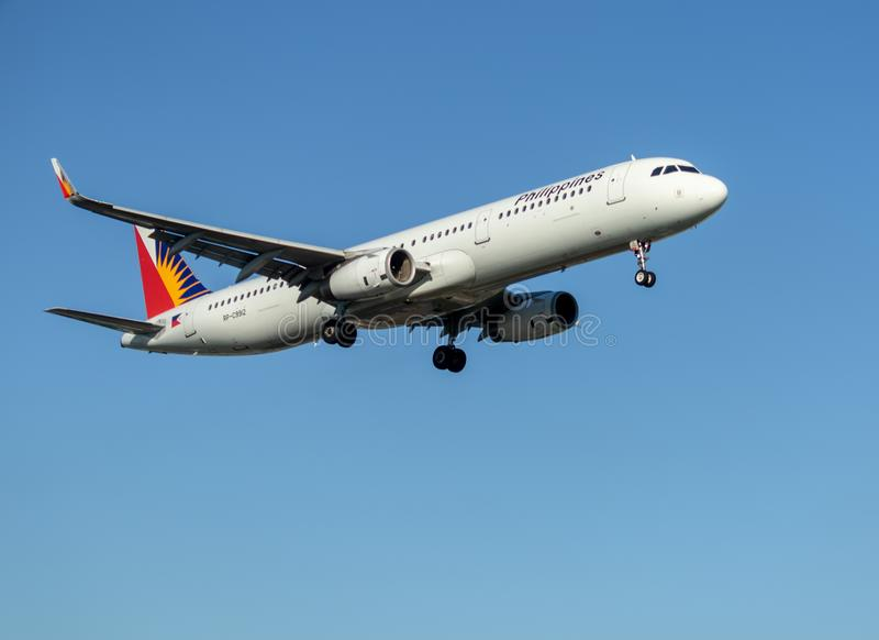 Philippine Airlines en vol photo stock