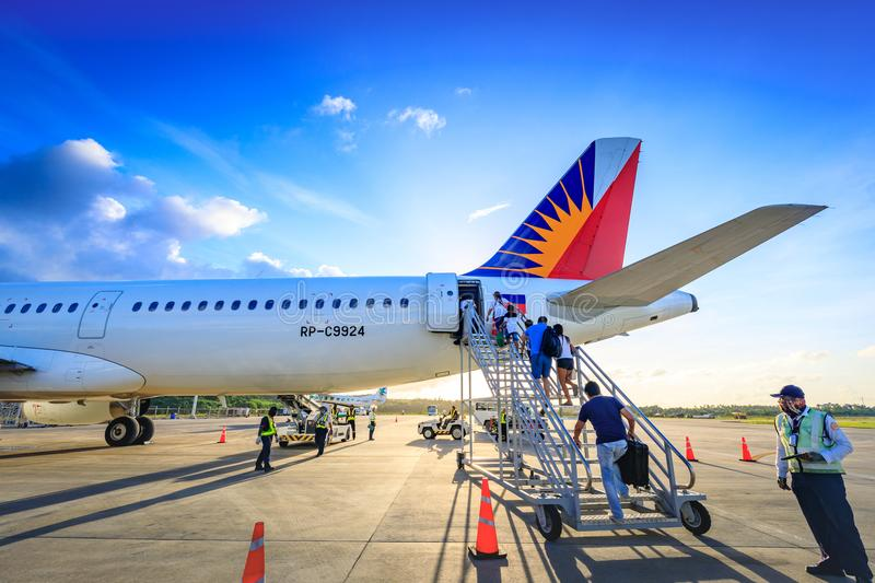 Philippine Airlines Kamerad an Caticlan-Flughafen stockfotos
