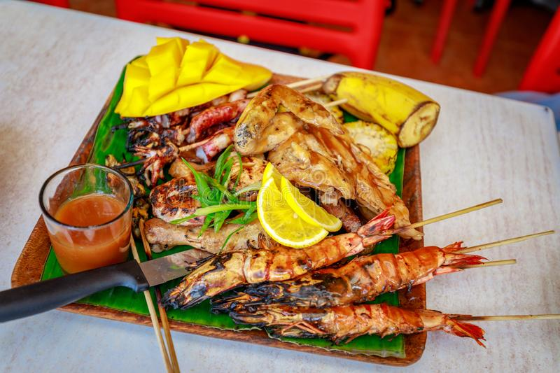 Philippine barbecue food. On the table stock photos