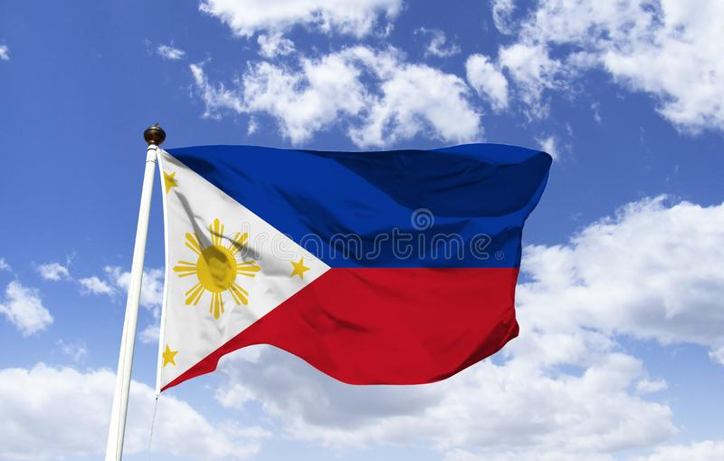 Philippine flag mockup floating under blue sky. Southeast Asia country in the West Pacific. Capital Manila, includes St. Augustine`s Church, Baroque royalty free stock photography